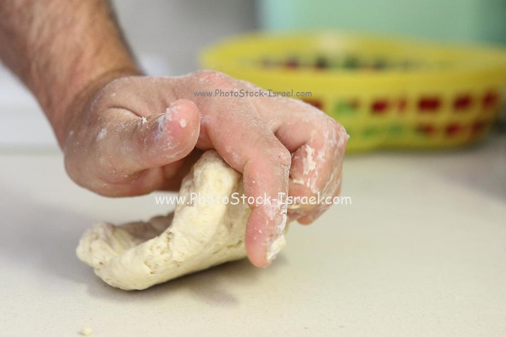 home made Cheese Focaccia kneading the dough