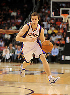 Feb. 17, 2011; Phoenix, AZ, USA; Phoenix Suns guard Goran Dragic (2) handles the ball against the Dallas Mavericks at the US Airways Center. The Mavericks defeated the Suns 112-106. Mandatory Credit: Jennifer Stewart-US PRESSWIRE