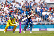 England ODI wicket keeper Jos Butler plays the ball high but safe for a couple of runs to leg during the 5th One Day International match between England and Australia at Old Trafford, Manchester, England on 24 June 2018. Picture by Simon Davies.