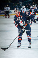 KELOWNA, CANADA - DECEMBER 28: Deven Sideroff #34 of Kamloops Blazers warms up against the Kelowna Rockets on December 28, 2015 at Prospera Place in Kelowna, British Columbia, Canada.  (Photo by Marissa Baecker/Shoot the Breeze)  *** Local Caption *** Deven Sideroff;