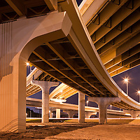USA, Florida, Tampa, Expressway bridges near Tampa International Airport at night