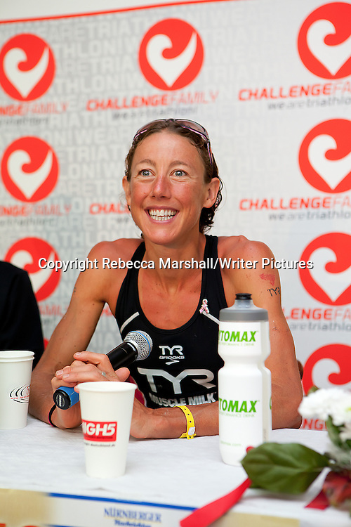 Chrissie Wellington, British four-time Ironman Triathlon World Champion and author of  'A Life Without Limits'.<br /> At the press conference after winning the Ironman Triathlon, Roth, Germany<br /> 10th July 2011<br /> <br /> Photograph by Rebecca Marshall/Writer Pictures<br /> <br /> EXCLUSIVE WORLD RIGHTS