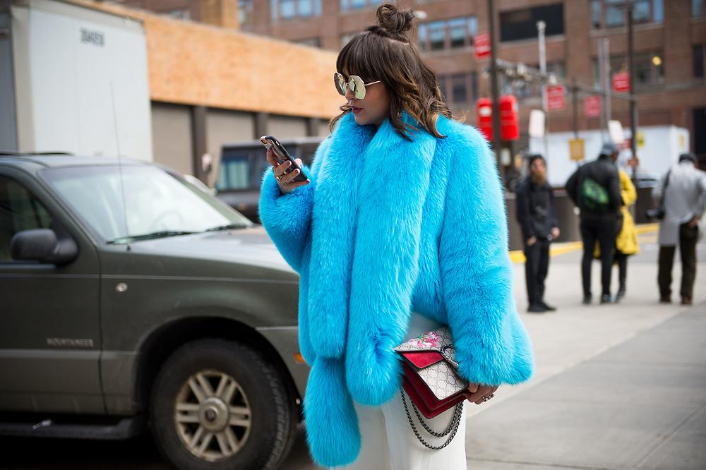 Blue Fur and Gucci Bag, Outside Naeem Khan FW2017