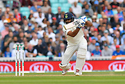 Hanuma Vihari of India hits the ball to the boundary for four runs during day 3 of the 5th test match of the International Test Match 2018 match between England and India at the Oval, London, United Kingdom on 9 September 2018.