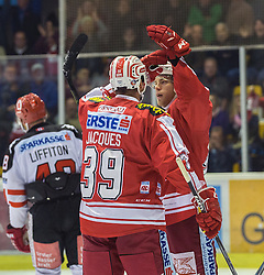 02.10.2015, Stadthalle, Klagenfurt, AUT, EBEL, EC KAC vs HC TWK Innsbruck Die Haie, im Bild Jean-François Jacques (EC KAC, #39), Thomas Hundertpfund (EC KAC, #27) // during the Erste Bank Eishockey League match betweeen EC KAC and HC TWK Innsbruck Die Haie at the City Hall in Klagenfurt, Austria on 2015/190/02. EXPA Pictures © 2015, PhotoCredit: EXPA/ Gert Steinthaler