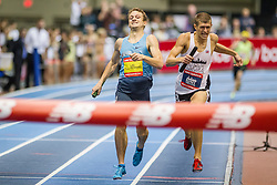 New Balance Indoor Grand Prix track & field, Mens 4x800 meter relay, Erik Sowinski beats Michael Rutt to finish line to set world record