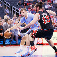 24 November 2013: Chicago Bulls center Joakim Noah (13) defends on Los Angeles Clippers power forward Blake Griffin (32) during the Los Angeles Clippers 121-82 victory over the Chicago Bulls at the Staples Center, Los Angeles, California, USA.