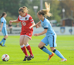 Bristol Academy Womens' Frankie Brown jostles for possession. - Photo mandatory by-line: Nizaam Jones- Mobile: 07583 387221 - 28/09/2014 - SPORT - Women's Football - Bristol - SGS Wise Campus - BAWFC v Man City Ladies - sport