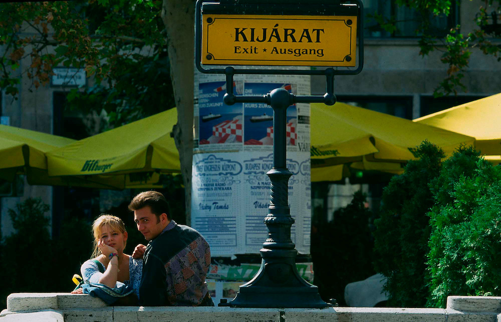 Young lovers pass the time near the Vaci Utca in Budapest.  1993
