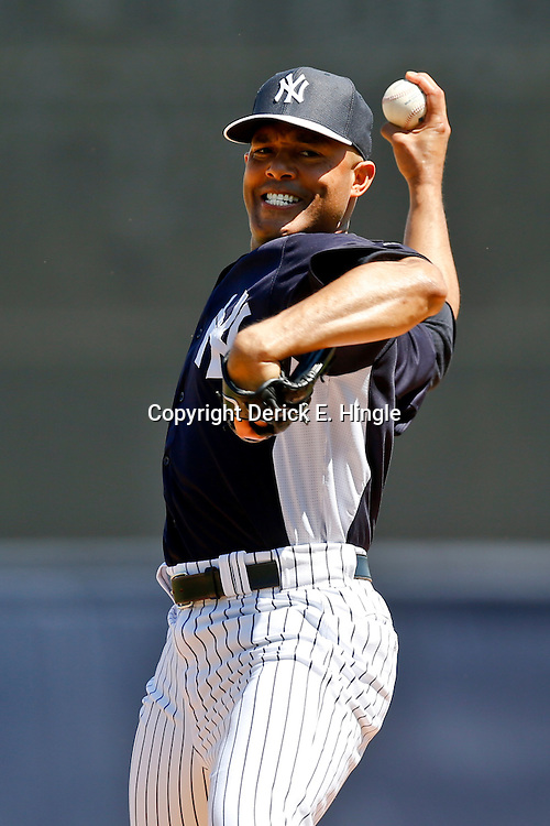 Mar 16, 2013; Tampa, FL, USA; New York Yankees relief pitcher Mariano Rivera (42) against the Philadelphia Phillies during a spring training game at George Steinbrenner Field. Mandatory Credit: Derick E. Hingle-USA TODAY Sports