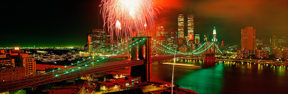 Brooklyn Bridge Centennial Fireworks, May 24,  1983 Manhatttan, New York City, New York