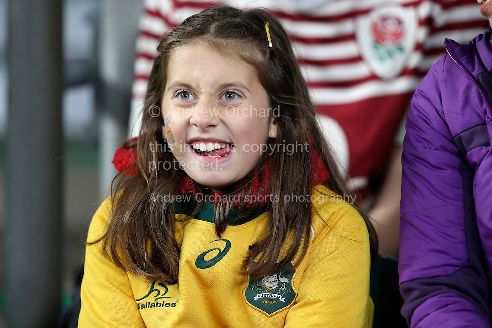 a Young Australian fan watching the warm up before k/o. Rugby World Cup 2015 pool A match, England v Australia at Twickenham Stadium in London, England  on Saturday 3rd October 2015.<br /> pic by  John Patrick Fletcher, Andrew Orchard sports photography.