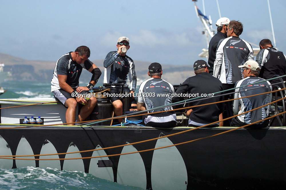 18 February 2003, Americas Cup, Race Three, Hauraki Gulf, Auckland, New Zealand. Alinghi vs Team New Zealand. Team New Zealand crew. Alinghi won by 00:00:23. Alinghi lead the best of nine series 3-0.<br />