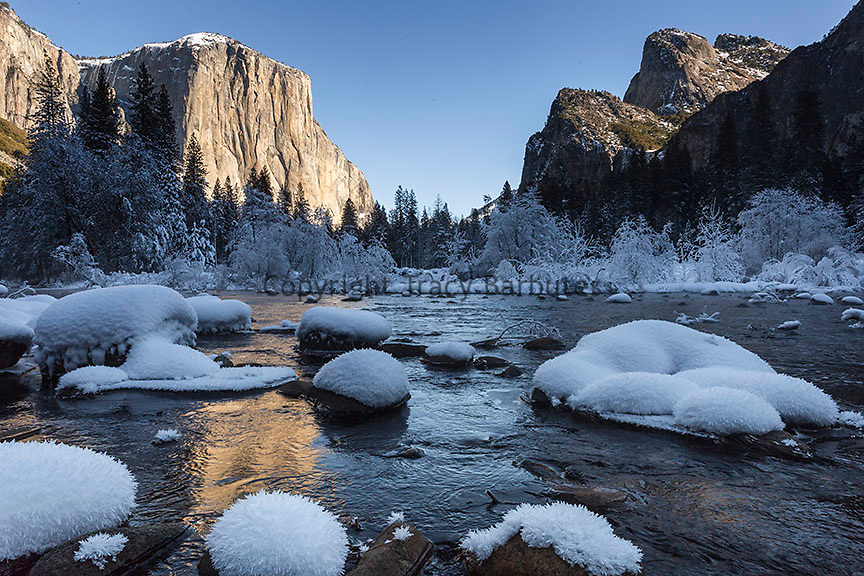 El Capitan (El Cap) and a snowy Merced River, Yosemite Valley, Yosemite National Park, California.