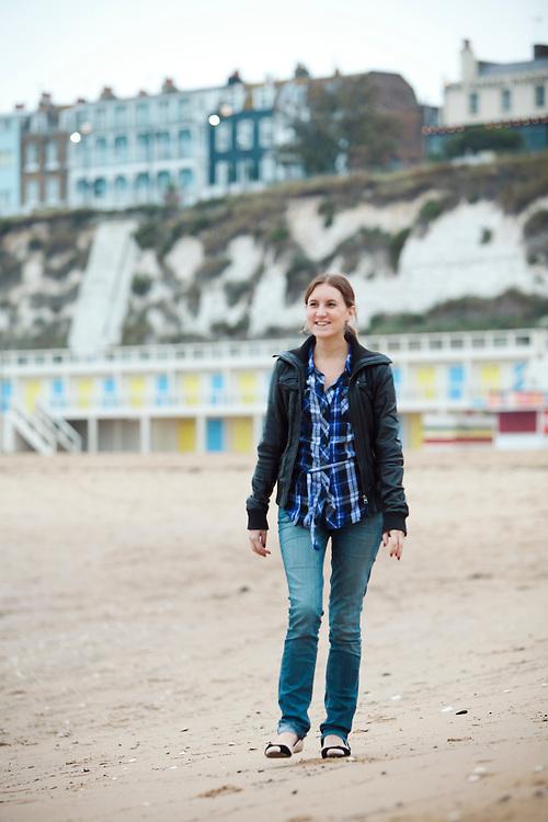 Journalist Helen Ochyra enjoys a walk along the beach, Broadstairs, Kent