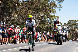 January 18, 2018 - Pennys Hill, South Australia, Australia - Nicolas Dlamini, King of the Mountain leader take another KOM in Stage 3, Glenelg to Victor Harbor, of the Tour Down Under, Australia on the 18 of January 2018  (Credit Image: © Gary Francis via ZUMA Wire)
