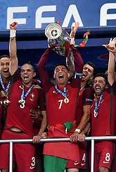 Cristiano Ronaldo of Portugal lift's the Henri Delaunay Trophy as Portugal celebrate Winning the Uefa European Championship   - Mandatory by-line: Joe Meredith/JMP - 10/07/2016 - FOOTBALL - Stade de France - Saint-Denis, France - Portugal v France - UEFA European Championship Final