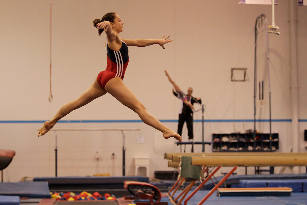 Jordyn Wieber, World Champion gymnast works out at Twistars Gym in Dimondale, Michigan.