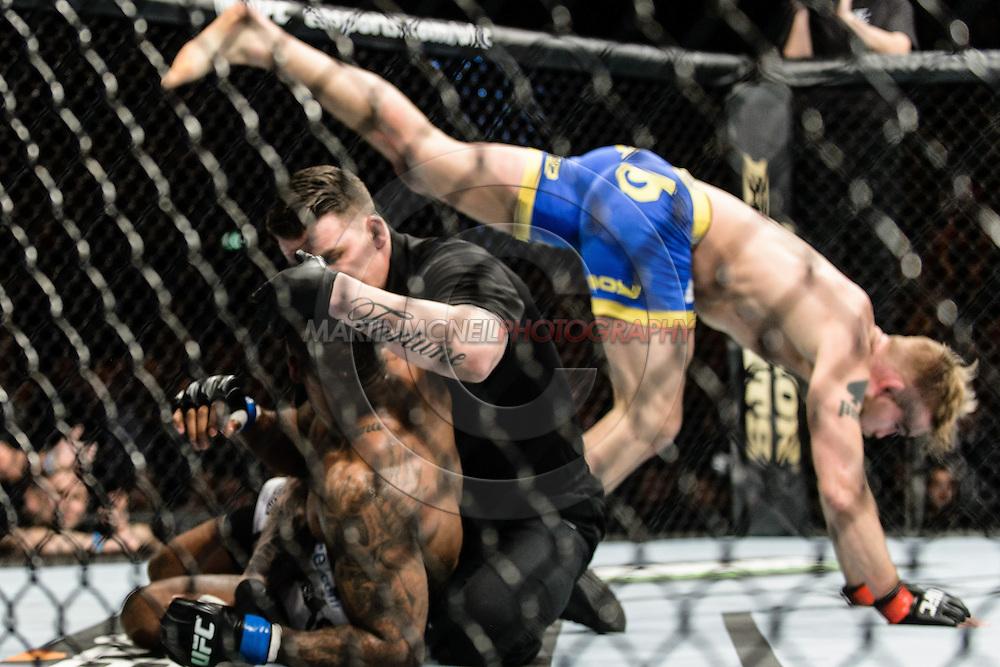 "LONDON, ENGLAND, MARCH 8, 2014: Jimi Manuwa Alexander Gustafsson during ""UFC Fight Night: Gustafsson vs. Manuwa"" inside the O2 Arena in Greenwich, London on Saturday, March 8, 2014 (© Martin McNeil)"