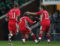 Photo: Paul Thomas.<br /> Blackburn Rovers v Basle. UEFA Cup. 02/11/2006.<br /> <br /> Blackburn goal scorer Tugay (5) celebrates his goal with Morten Gamst Pedersen (12) and David Bentley (11).