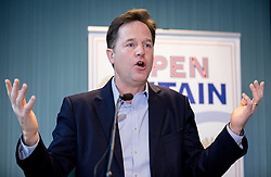 © Licensed to London News Pictures. 28/11/2016. London, UK. Former Deputy Prime Minister Nick Clegg speaks at the 'Open Britain' event, a cross-party campaign arguing for continued membership of the single market, following Britain's decision to leave the EU. Photo credit : Tom Nicholson/LNP