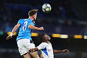 Fabian Ruiz of Napoli goes for a header during the UEFA Champions League, Group E football match between SSC Napoli and KRC Genk on December 10, 2019 at Stadio San Paolo in Naples, Italy - Photo Federico Proietti / ProSportsImages / DPPI
