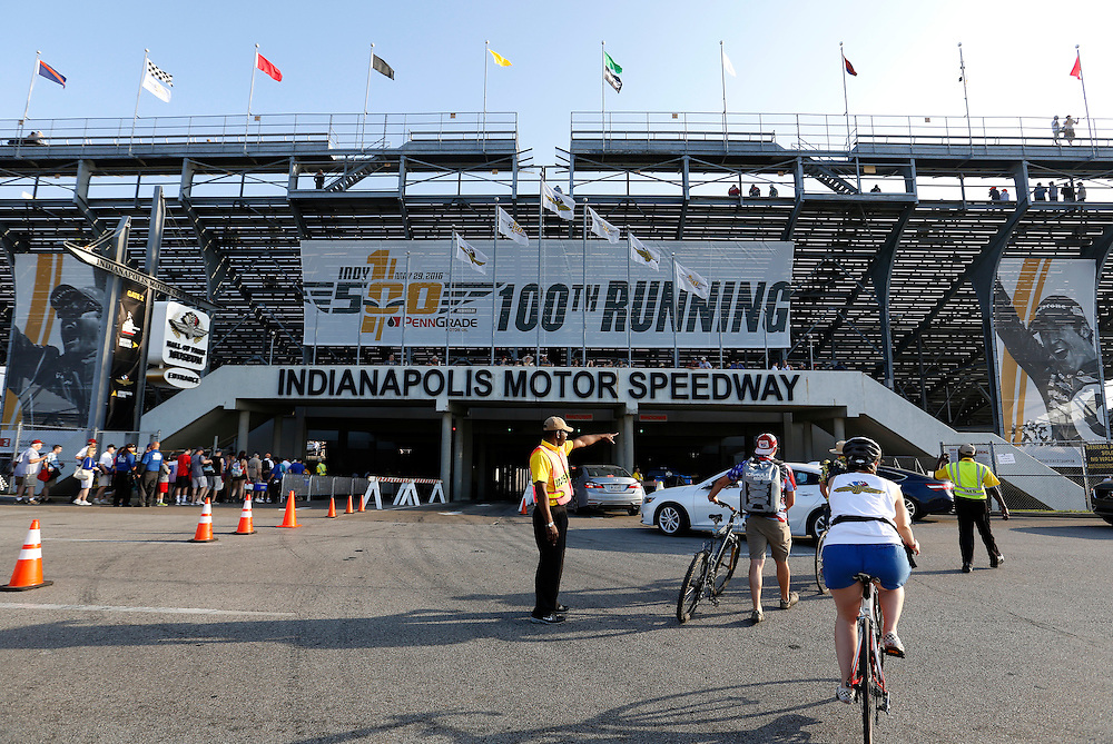 Traffic enters the speedway during the 100th running of the Indianapolis 500 May 29, 2016.
