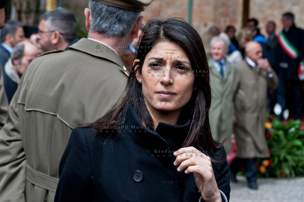 Commemoration for the 72th anniversary of the massacre  Fosse Ardeatine, made in Rome by the occupation troops of Nazi Germany, the  March 24, 1944, were killed, 335 civilians and Italian soldiers. Pictured: The candidate for mayor of Rome Virginia Raggi, of the Movement 5 Stars.  Rome Italy. March 23, 2016.