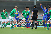 Troy Parrot of Republic of Ireland (10) celebrates after scoring during the UEFA European Under 17 Championship 2018 match between Bosnia and Republic of Ireland at Stadion Bilino Polje, Zenica, Bosnia and Herzegovina on 11 May 2018. Picture by Mick Haynes.