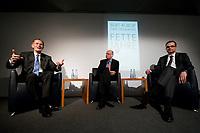 """28 FEB 2012, BERLIN/GERMANY:<br /> Bert Ruerup, Gruender und Vorstandsmitglied der MaschmeyerRuerup AG, Michael Sauga, Redakteur Der Spiegel, Dirk Heilmann, Chefoekonom Handelsblatt, (v.L.n.R.), Buchpraesentation """"Fette Jahre"""" von Ruerup und Heilmann, Deutsches Institut fuer Wirtschaftsforschung, DIW<br /> IMAGE: 20120228-01-036<br /> KEYWORDS: Buchvorstellung, Buchpräsentation, Bert Rürup"""