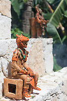 A Mayan pottery sculpture on display in the city of Valladolid, Yucatan Peninsula, Mexico