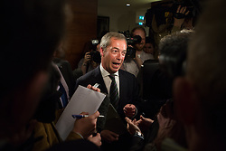 Ngel Farage deliver speech after significant gains. The leader of UKIP party Nigel Farage answer questions by the media after giving a party speech in central London after his significants gains in the European and Council elections. InterContinental Hotel, London, United Kingdom. Monday, 26th May 2014. Picture by Daniel Leal-Olivas / i-Images