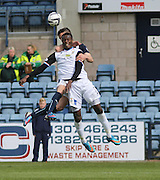 Inverness Caledonian Thistle&rsquo;s Edward Ofere outjumps Dundee's Thomas Konrad - Dundee v Inverness Caledonian Thistle - SPFL Premiership at Dens Park <br /> <br />  - &copy; David Young - www.davidyoungphoto.co.uk - email: davidyoungphoto@gmail.com