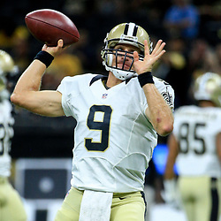 Aug 26, 2016; New Orleans, LA, USA;  New Orleans Saints quarterback Drew Brees (9) before a preseason game against the Pittsburgh Steelers at Mercedes-Benz Superdome. Mandatory Credit: Derick E. Hingle-USA TODAY Sports