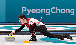 20.02.2018, Gangneung Curling Centre, Gangneung, KOR, PyeongChang 2018, Curling, Herren, Robin Session, im Bild Team Schweiz mit Schwarz Benoit, Paetz Claudio, De Cruz Peter, Tanner Valentin, Maerki Dominik // Team Switzerland with Schwarz Benoit Paetz Claudio De Cruz Peter Tanner Valentin Maerki Dominik during the Mens Curling Robin Session of the Pyeongchang 2018 Winter Olympic Games at the Gangneung Curling Centre in Gangneung, South Korea on 2018/02/20. EXPA Pictures © 2018, PhotoCredit: EXPA/ Johann Groder