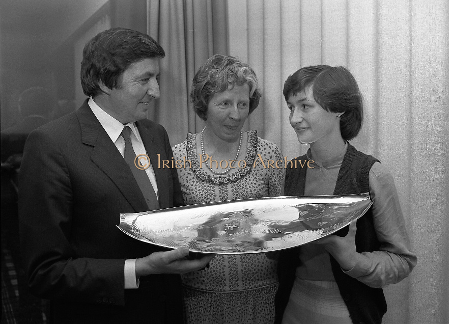 """The National Fish Cookery Award""..29.04.1982..04.29.1982.29th April 1982.1982..This competition sponsored by Bord Iascaigh Mhara was held in The Clare Inn, Newmarket-on Fergus,Co Clare. the competition was open to schools across the country..Catherine O'Sullivan,Winner, accepts her prize from Minister Daly"