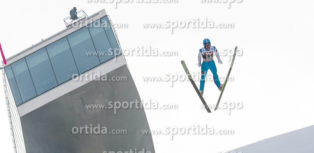 03.01.2015, Bergisel Schanze, Innsbruck, AUT, FIS Ski Sprung Weltcup, 63. Vierschanzentournee, Innsbruck, Training, im Bild Vladislav Boyarintsev (RUS) // Vladislav Boyarintsev of Russia soars through the air during a training session for the 63rd Four Hills Tournament of FIS Ski Jumping World Cup at the Bergisel Schanze in Innsbruck, Austria on 2015/01/03. EXPA Pictures © 2015, PhotoCredit: EXPA/ Jakob Gruber