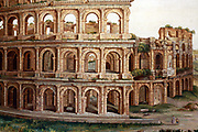 Painting of the Colosseum, an elliptical amphitheatre in the centre of the city of Rome. Built 70-80 AD. Painted by G. Rinaldi 1820. Rome. Italy 2013