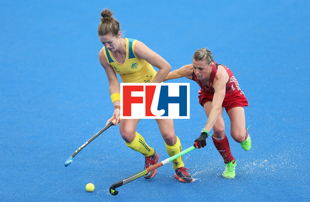 LONDON, ENGLAND - JUNE 25:  Georgina Morgan of Australia and Alex Danson of Great Britain during the FIH Women's Hockey Champions Trophy match between Great Britain and Australia at Queen Elizabeth Olympic Park on June 25, 2016 in London, England.  (Photo by Alex Morton/Getty Images)