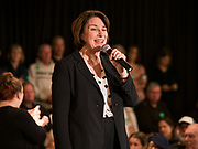 02 FEBRUARY 2020 - CEDAR RAPIDS, IOWA: US Senator AMY KLOBUCHAR speaks at a campaign event in Cedar Rapids. Sen. Klobuchar campaigned to support her candidacy for the US Presidency Sunday in Iowa. She is trying to capitalize on her recent uptick in national polls. Iowa holds the first selection event of the presidential election cycle. The Iowa Caucuses are Feb. 3, 2020.          PHOTO BY JACK KURTZ