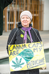 Pictured: Caroline Hogan (45) who is hoping for positive results from her latest treatment for breast cancer<br /> Protesters gathered outside the Scottish Parliament while they waited on colleagues in meeting with MSPs and health car professionals who were putting forward the case to legalise medicinal cannabis.  Most had first hand experience of the benefits of using the drug under medical supervision.<br /> <br /> <br /> Ger Harley | EEm Date