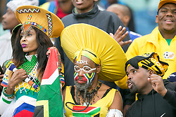 Durban. 080918.  South Africa fans during the 2019 Africa Cup of Nations qualifying match between South Africa and Libya at Moses Mabhida Stadiium in Durban,South Africa. Picture Leon Lestrade. African News Agency. ( ANA ).