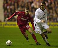 Fotball - Premier League - 26.12.2002<br /> Middlesbrough v Manchester United 3-1<br /> Stuart Parnaby - Villa<br /> John O'Shea - United<br /> Foto: Greig Cowie, Digitalsport