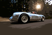 Image of a 1958 silver Porsche 550A Spyder, Washington state, Pacific Northwest, model and property released, photo illustration