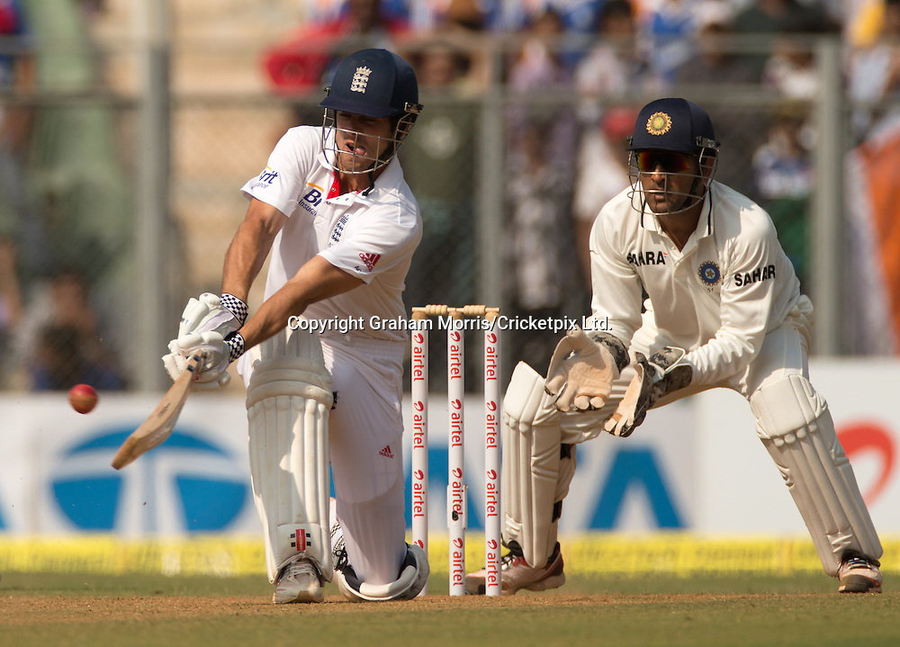 Alastair Cook bats during the second Test Match between India and England at the Wankhede Stadium, Mumbai. Photograph: Graham Morris/cricketpix.com (Tel: +44 (0)20 8969 4192; Email: sales@cricketpix.com) Ref. No. 12568m63  24/11/12