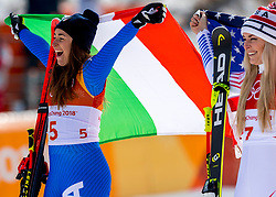 21-02-2018 KOR: Olympic Games day 12, PyeongChang<br /> Ladies Downhill at Jeongseon Alpine Centre / Gold medal for Sofia Goggia, of Italy, Lindsey Vonn, of the United States,