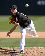 GLENDALE, ARIZONA - FEBRUARY 28:  Ian Clarkin #64 of the Chicago White Sox pitches against the Texas Rangers on February 28, 2018 at Camelback Ranch in Glendale Arizona.  (Photo by Ron Vesely)  Subject:   Ian Clarkin