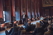 MARCOS LUTYENS CONDUCTING Hypnosis session. Perdurity: A Moving Banquet of Time. Royal Salute curates a timeless evening at Hampton Court Palace with Marcos Lutyens, 2 June 2015.