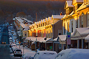 Berks Co., Reading, PA, 15th and Muhlenburg Streets. sunrise, snowy morning
