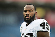 NASHVILLE, TN - NOVEMBER 29:  Marcel Reece #45 of the Oakland Raiders on the sidelines during a game against the Tennessee Titans at Nissan Stadium on November 29, 2015 in Nashville, Tennessee.  The Raiders defeated the Titans 24-21.  (Photo by Wesley Hitt/Getty Images) *** Local Caption *** Marcel Reece
